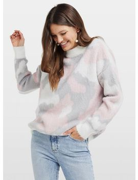 Pink Camouflage Print Knitted Jumper by Miss Selfridge