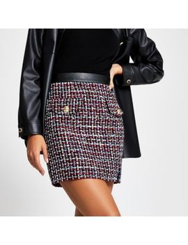 Navy Boucle Button Mini Skirt by River Island