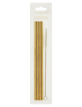 4 X Reusable Stainless Steel Straws by Accessorize