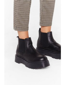 Flatform Faux Leather Chelsea Boot by Nasty Gal