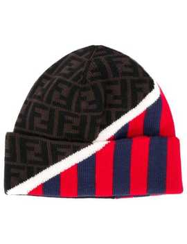 Ff Logo And Stripes Beanie by Fendi