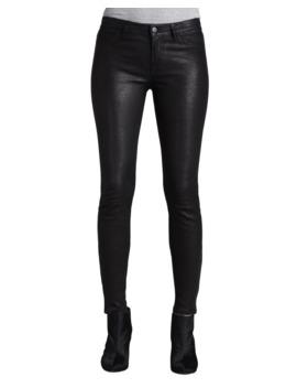 Leather Super Skinny Pants, Noir by J Brand