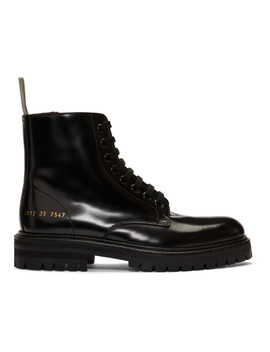 Black Standard Combat Boots by Woman By Common Projects