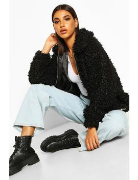 Premium Curly Teddy Faux Fur Oversized Jacket by Boohoo