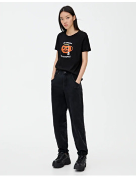 Pumpkin T Shirt With Slogan by Pull & Bear
