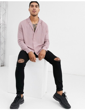 Asos Design Relaxed Viscose Shirt With Low Revere Collar In Dusty Pink by Asos Design