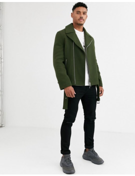 Asos Design Wool Mix Belted Biker Jacket In Khaki by Asos Design