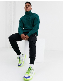 Asos Design Heavyweight Cable Knit Roll Neck Sweater In Green by Asos Design
