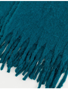 Asos Design Fluffy Texture Blanket Scarf In Teal by Asos Design