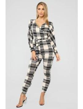 So Plaid Out Belted Jumpsuit   Black/Taupe by Fashion Nova