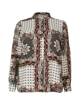 Plus Grey Printed Long Sleeve Shirt by River Island