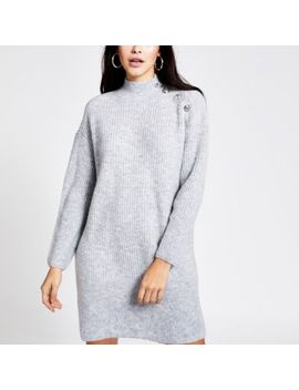 Grey Button Shoulder Knitted Jumper Dress by River Island