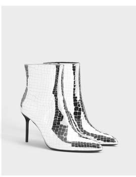 Bottines à Talon Métallisé Chaussures   Bershka France by Bershka