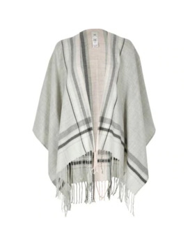 Grey Check Tassel Knitted Cape by River Island