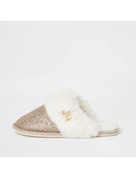 Gold Diamante Faux Fur Mule Slippers by River Island