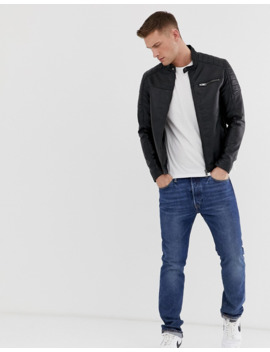 Jack &Amp; Jones Core Faux Leather Racer Jacket In Black by Jack & Jones