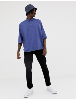 Asos Design Extreme Oversized Jersey Polo In Blue by Asos Design
