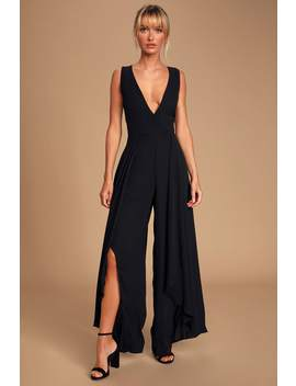 Noela Black Sleeveless Surplice Jumpsuit by Lulus