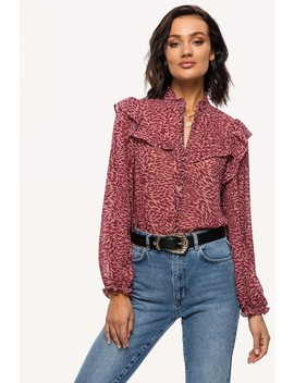 Take The Chance by Loavies Pink Leaf Print Blouse