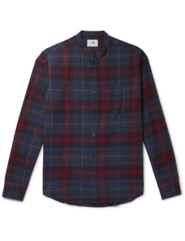 Grandad Collar Checked Cotton And Wool Blend Flannel Shirt by Nn07