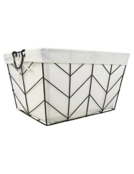 Honey Can Do® Chevrons Medium Wire Bin With Cotton Liner In Silver by Bed Bath And Beyond