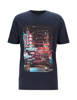 Regular Fit Pima Cotton T Shirt With Photoprint Regular Fit Pima Cotton T Shirt With Photoprint by Boss