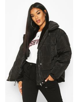 Panelled Funnel Neck Puffer by Boohoo