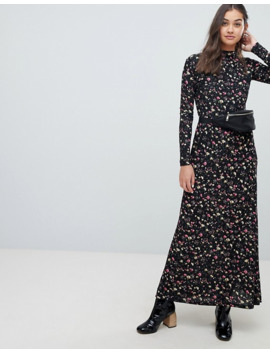 Jdy Long Sleeve Floral Print High Neck Maxi Dress by Jdy's