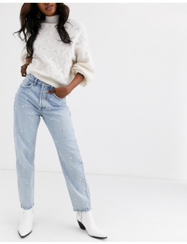 Stradivarius Mom Jeans With Pearls by Stradivarius'