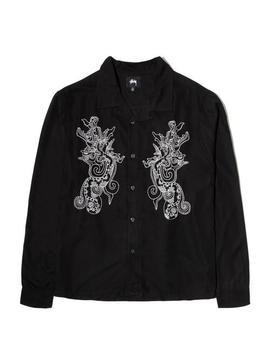 Embroidered Dragon Ls Shirt by Bodega