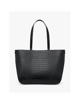 L.K.Bennett Evie Leather Tote Bag, Black Croc by L.K.Bennett