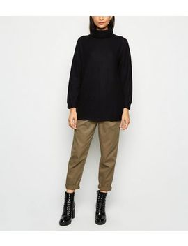 Black Ribbed Brushed Cowl Neck Jumper by New Look