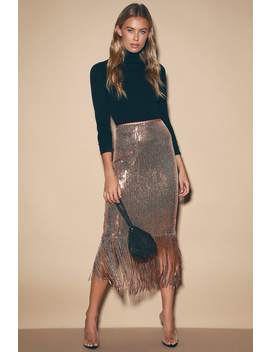 Toast To This Rose Gold Sequin Fringe Midi Skirt by Lulus