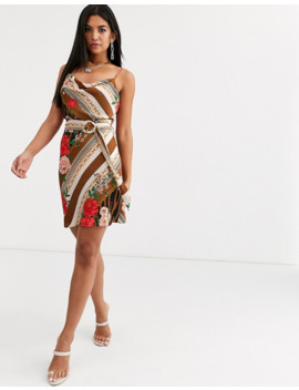 River Island Belted Slip Dress In Brown by River Island