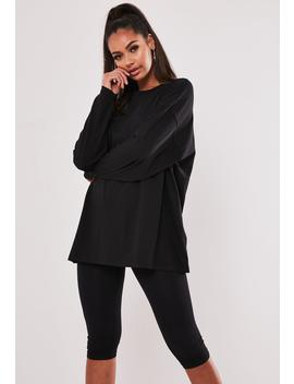 Black Long Sleeve Drop Shoulder T Shirt by Missguided