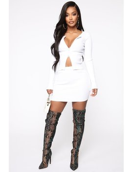 My Way Skirt Set   White by Fashion Nova