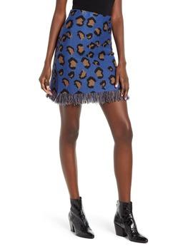 Fringe Hem Leopard Jacquard Miniskirt by Moon River