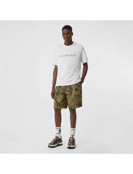 Embroidered Check Logo Cotton T Shirt by Burberry