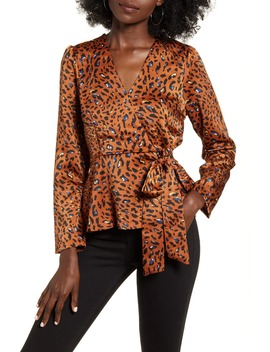 Cheetah Print Wrap Style Top by Moon River
