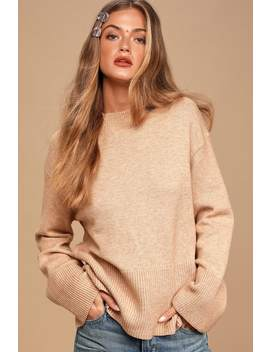 Loving The Cozy Life Heathered Beige Ribbed Sweater by Lulus