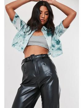 Blue Tie Dye Textured Chiffon Crop Shirt by Missguided