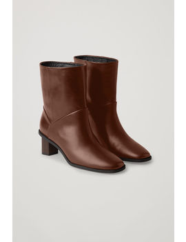 Leather Boots With Tilted Heel by Cos