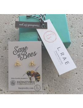 S A V E The Bees. 20% Of Profits Donated To The Honeybee Conservancy. Gold Or Silver Bee Earrings. Fashion With A Cause by Etsy