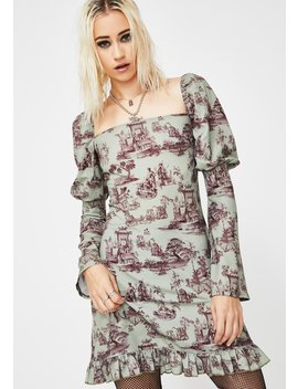 Wedgewood Print Puff Sleeve Dress by New Girl Order