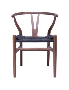 2xhome Espresso Wishbone Wood Wooden Armchair With Arms Open Y Back Open Mid Century Modern Contemporary Industrial Office Dining Chairs Dark Black Woven Seat For Living Desk Kitchen Room by 2xhome