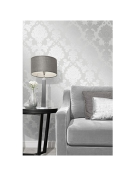Quartz Damask Wallpaper   Silver by B&M