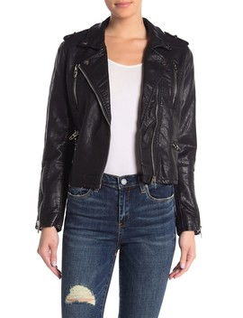 Zipper Detail Faux Leather Moto Jacket by Blanknyc Denim
