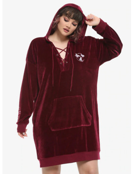 Her Universe Disney Hocus Pocus Velour Lace Up Hoodie Dress Plus Size by Hot Topic
