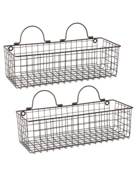 Dii Z02020 Rustic Farmhouse Vintage Hanging Wall Mounted Wire Metal Basket, Set Of 2 Medium, Bronze by Dii