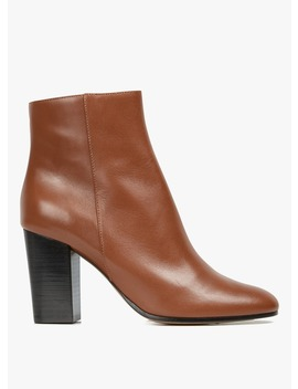 Flixa   Bottines à Talon En Cuir Marron by Maje